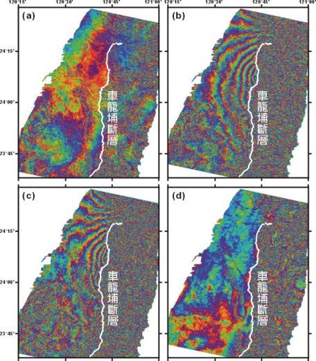 中部地區在集集大地震前後的DInSAR測量結果,圖說如上
