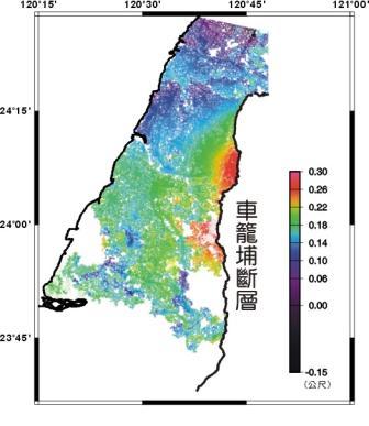 集集大地震的地表相對位移圖,圖說如上